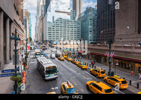 A view of traffic on 42nd street in mid-town Manhattan in New York City. - Stock Photo