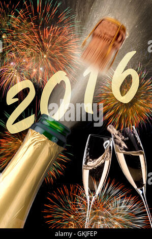 new year 2016 with champagne,flying corks,fireworks and year - Stock Photo