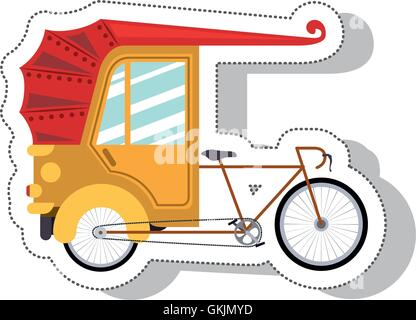 rickshaw service isolated icon - Stock Photo