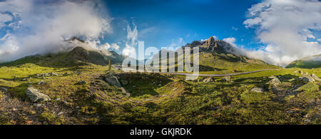 360 Degree Panorama of a mountain landscape at Julier Pass Road, Engadine, Grisons, Switzerland - Stock Photo