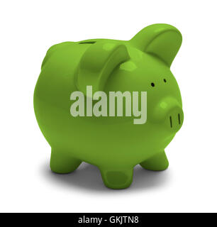 Green Piggy Bank  Isolated on White Background. - Stock Photo