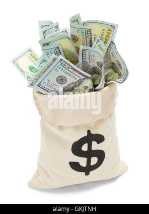 Open Bag of Cash with Hundred Dollar Bills Isolated on White Background. - Stock Photo