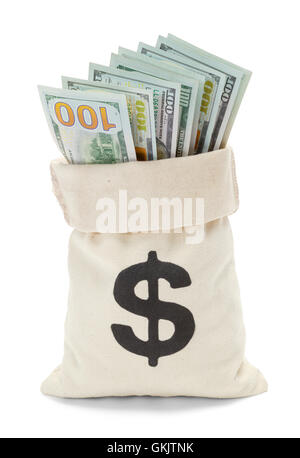 Open Bag of Money with Hundred Dollar Bills Isolated on White Background. - Stock Photo