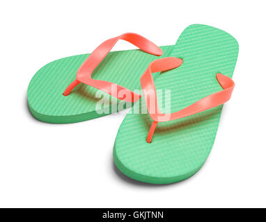 Pair of Light Green Flip Flops Isolated on White Background. - Stock Photo
