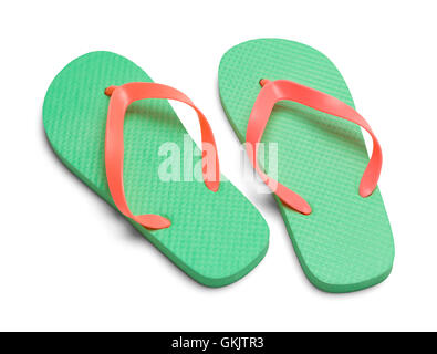 Pair of Flip Flops Isolated on White Background. - Stock Photo
