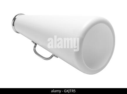 White Cheer Megaphone Cut Out Isolated on White Background. - Stock Photo