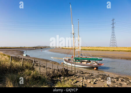 A pair of Smack fishing boats, moored at Oare in Faversham Creek, Faversham, Kent, UK - Stock Photo