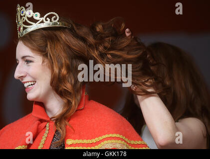 The newly crowned 'Queen of the Redheads' Emma Ni Chearuil at the Irish Redhead Convention held in the village of - Stock Photo