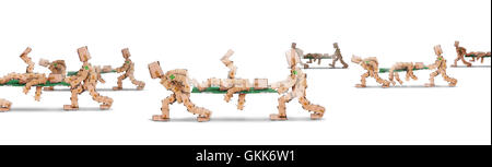 Box men characters carrying bodies on stretchers - Stock Photo