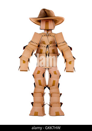 Single box man cowboy character on white - Stock Photo