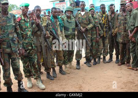 Somalia National Army (SNA) soldiers with the Afirican Union Mission in Somalia (AMISOM) Force Spokesperson Lt. - Stock Photo
