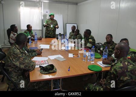 The AMISOM Force Spokesperson, Lt Col. Paul Njuguna speaks during a radio communication training for AMISOM Public - Stock Photo