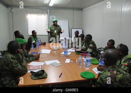 The AMISOM Force Spokesperson, Lt Col. Paul Njuguna speaks during a radio communication training for AMISOM Public - Stock Photo
