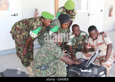 AMISOM Public Information Officers (PIOs) practice during a radio communication training held in Mogadishu, Somalia - Stock Photo