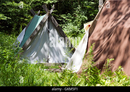 Couple kissing backpacking tents; Old Fashion Tents - Stock Photo & party tents Stock Photo Royalty Free Image: 114710805 - Alamy