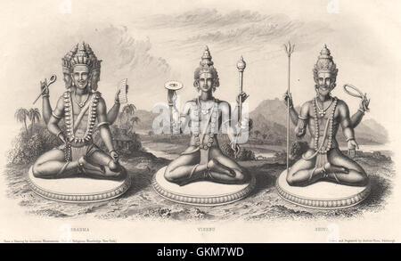 The Trimurti or Hindu Trinity; Brahma; Vishnu; Shiva, antique print 1840 - Stock Photo