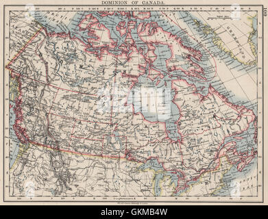 DOMINION OF CANADA. Showing 'new provinces' in red. Canadian Pacific, 1900 map - Stock Photo