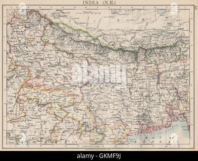 Bengal Nepal Bhutan Calcutta Bangladesh Johnston 1906 Map British India Ne
