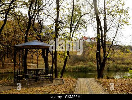 gazebo among fallen leaves in autumn park - Stock Photo