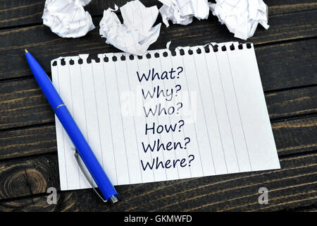 Questions text on notepad and crippled paper - Stock Photo