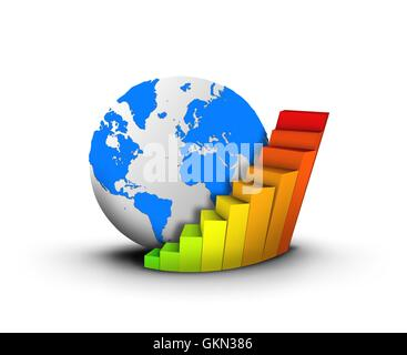 Globe and chart business concept - Stock Photo