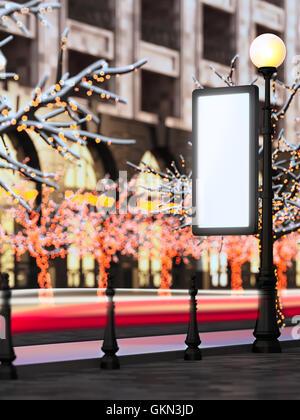 Blank template layout billboard at christmas illuminated street. - Stock Photo