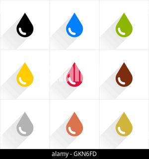 Drop set petroleum, water, eco, oil, blood, chocolate, silver, copper, gold in simple flat style. Flat style - Stock Photo