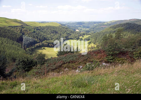 View of Melindwr valley and Cambrian mountains from Bwlch Nant Yr Arian Visitor Centre Ceredig - Stock Photo