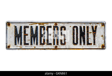 Isolated Rustic Members Only Sign - Stock Photo