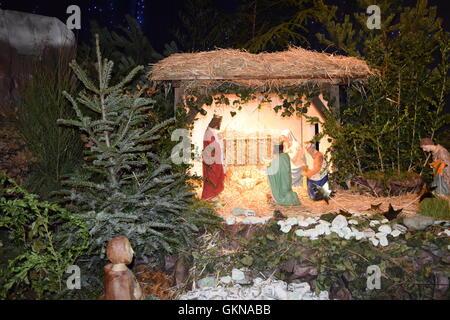 Nativity Scene with baby Jesus, Mary, Joseph and the three Kings - Stock Photo