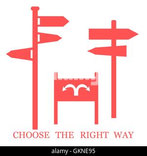 Set of colored stylized icons road signs and an inscription: 'Choose the right way' on a white background - Stock Photo