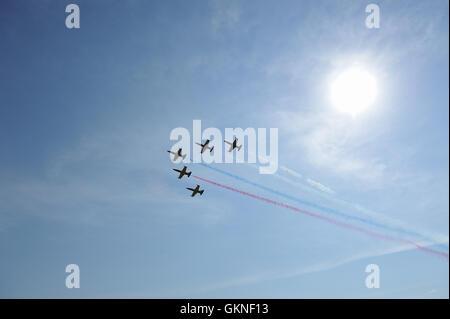 SYKTYVKAR, RUSSIA - August 21, 2016: Aerobatic team 'Rus'' on aero L-39 at the air show small and medium aviation - Stock Photo