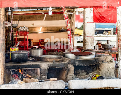 Traditional kitchen in northern Pakistan - Stock Photo