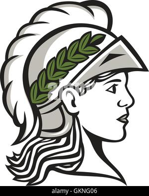 Illustration of Minerva or Menrva, the Roman goddess of wisdom and sponsor of arts, trade, and strategy wearing - Stock Photo