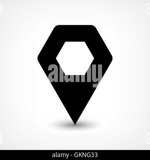 Map pin location sign rounded hexagon icon in flat style. Simple black shapes with gray gradient oval shadow on - Stock Photo