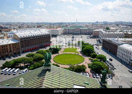 SAINT PETERSBURG, RUSSIA - JUNE 17, 2016: Bronze equestrian monument of Nicholas I on St Isaac's Square in St-Petersburg, - Stock Photo