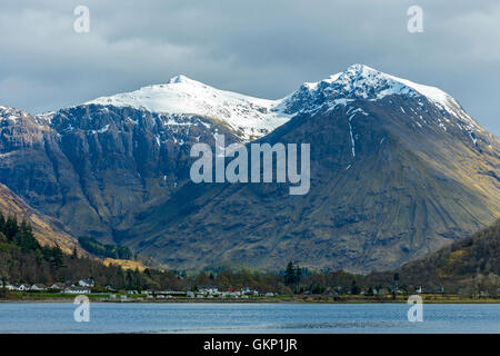 Stop Coire nan Lochan and Bidean nam Bian, Glencoe, over Loch Leven, Highland region, Scotland, UK. - Stock Photo