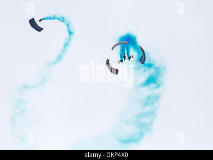 Bournemouth, UK. 21 August 2016. The Tigers Freefall Parachute Team perform at Bournemouth Air Festival 2016 Credit: - Stock Photo