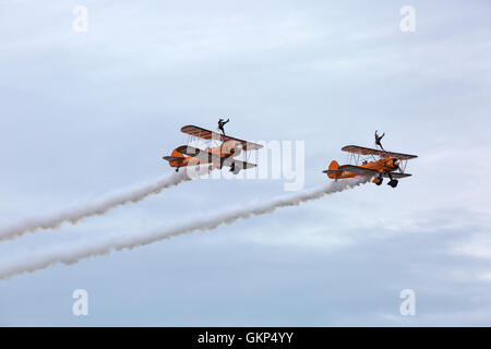 Bournemouth, UK. 21 August 2016. Breitling wingwalkers wing walkers perform at the Bournemouth Air Festival, Bournemouth, - Stock Photo