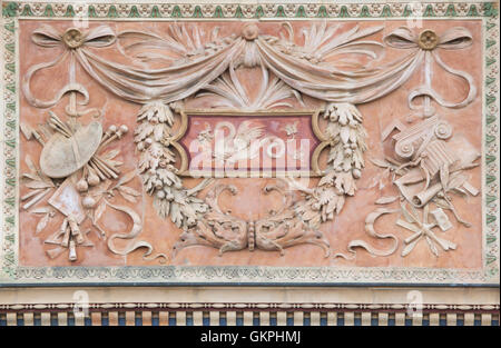Stucco decoration on the Mucsarnok Art Gallery in the Heroes Square in Budapest, Hungary. The Mucsarnok Art Gallery - Stock Photo