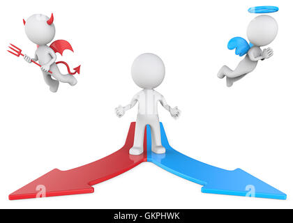 The Dude in front of 2 way road with Angel and Devil. Front view. Red and blue. - Stock Photo