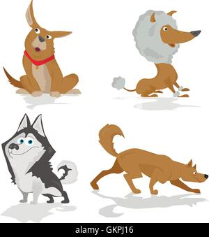 Funny dogs of various breeds standing in side view set isolated on white - Stock Photo