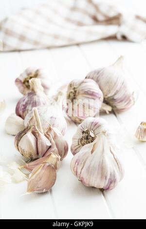 The fresh garlic on kitchen table. - Stock Photo