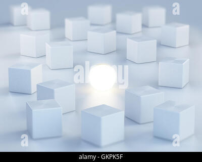 Sphere emitting light standing out among boxes. 3D illustration.