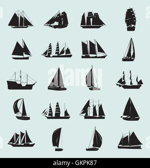 Boat Silhouette Set - Stock Photo
