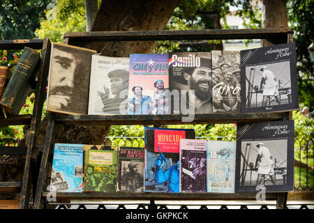 Revolutionary books on sale at a book stall in Plaza de Armas, Old Havana (La Habana Vieja), Cuba - Stock Photo