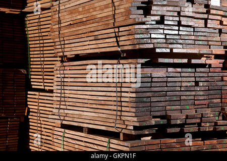 Large stacks of a hardwood planks - Stock Photo
