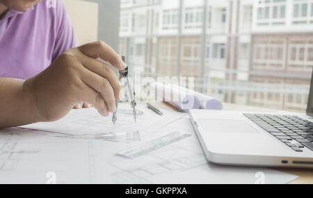 architect, architecture, blueprint, business, businessman, candid, casual, coffee,construction,engineer - Stock Photo