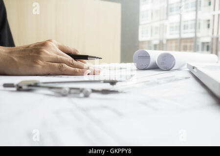 Engineer, project, working, engineering, tools, workplace, document, architectural, blueprint, paperwork, interaction, - Stock Photo