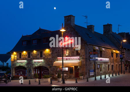 Town center of Perros-Guirec, Cote de Granit Rose, Brittany, France - Stock Photo